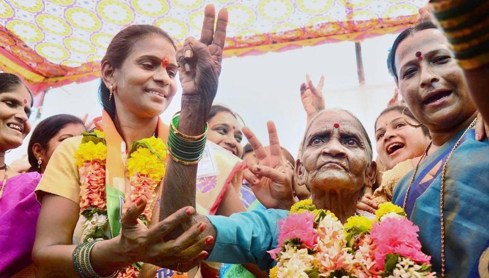 Devki Laxman Katkari, an 84-year-old BJPcandidate with her supporters after winning the panchayat samiti election from Vahal at Panvel in Navi Mumbai on Thursday.