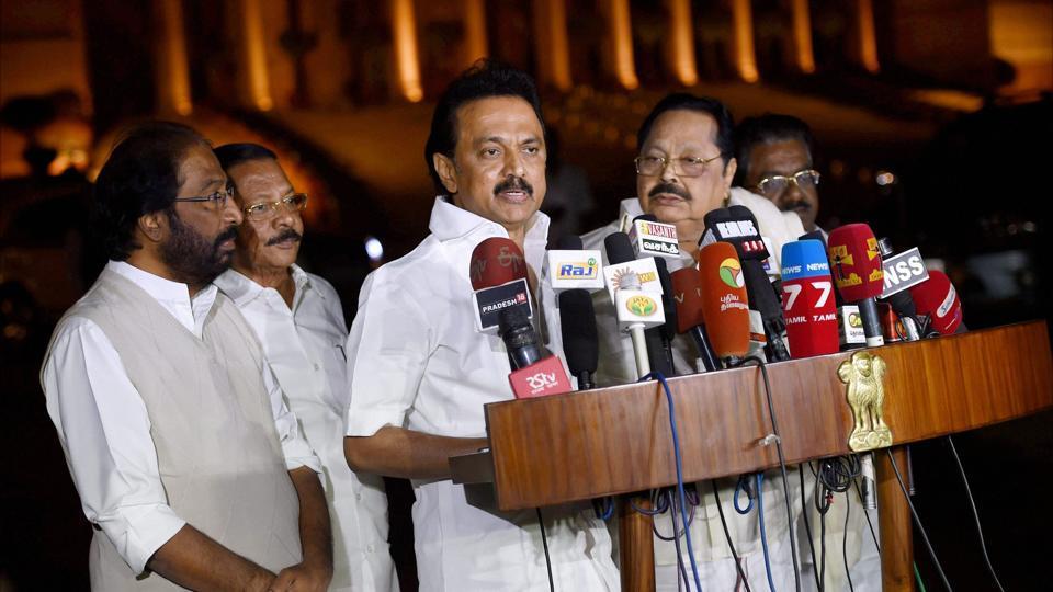 DMK working president MK Stalin addresses the media after meeting President Pranab Mukherjee in New Delhi.