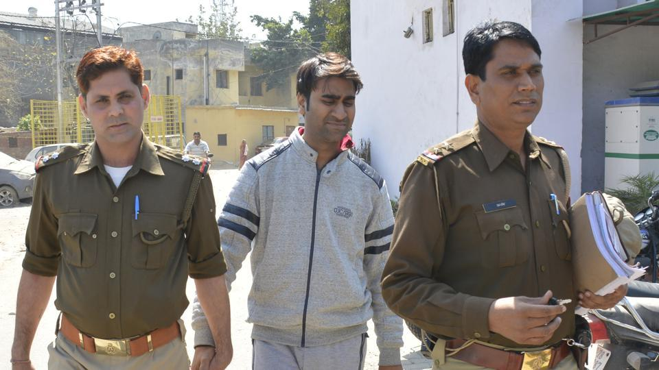 Mohit Goel, former MD of Ringing Bells, being taken to court  by Ghaziabad police on Friday.