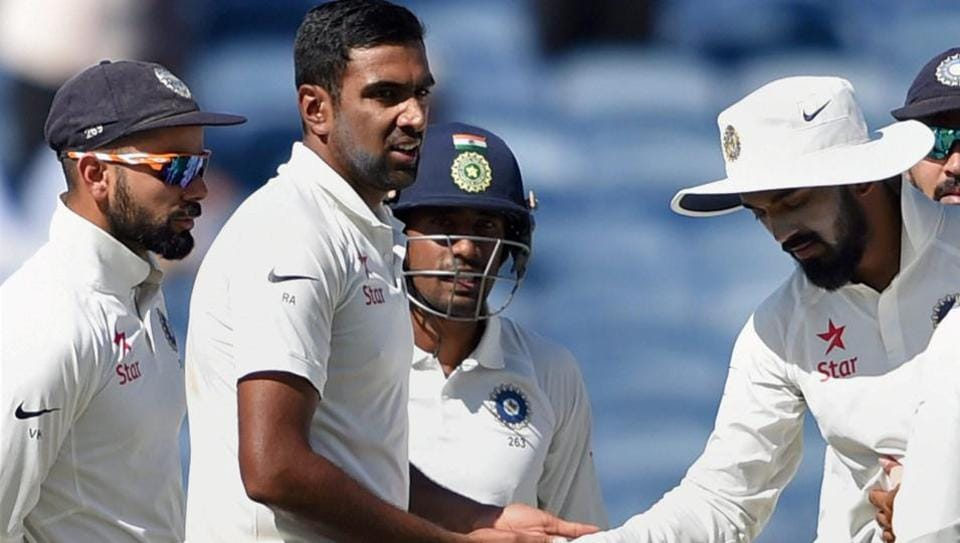 Pune: Indian bowler R Ashwin celebrates with teammates the wicket of Australian batsman Matt Renshaw on the first day of the first test match in Pune on Thursday. PTI Photo by Shashank Parade (PTI2_23_2017_000099B)
