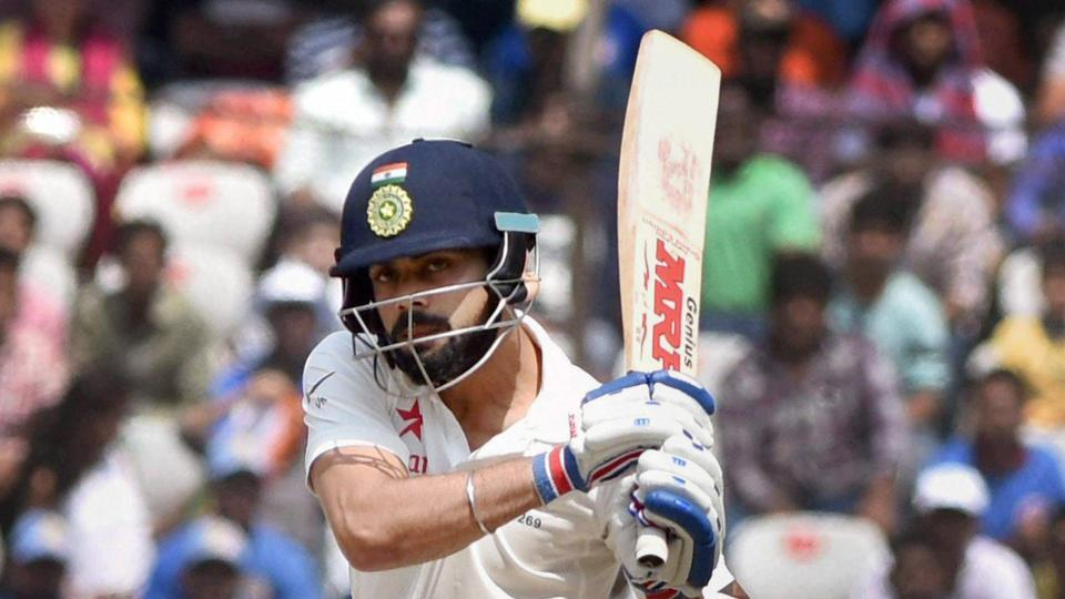 Virat Kohli has of India on action against Bangladesh during the 4th day test between India and Bangladesh at Uppal stadium in Hyderabad on Sunday.PTI Photo(PTI2_12_2017_000067A)