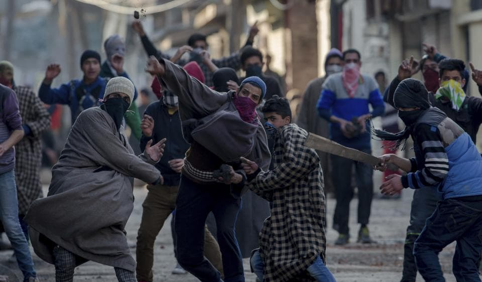 Kashmiri youths clash with security forces during a protest in Srinagar earlier this month