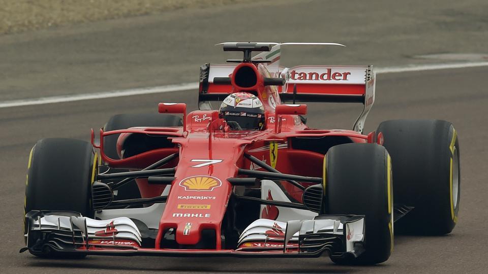 Finland's Kimi Raikkonen steers the new Ferrari Formula One SF70H racer at the Ferrari Fiorano private test track in Maranello, Italy on Friday.