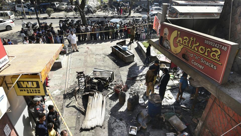 The restaurant in which the gas cylinder exploded on Friday morning,