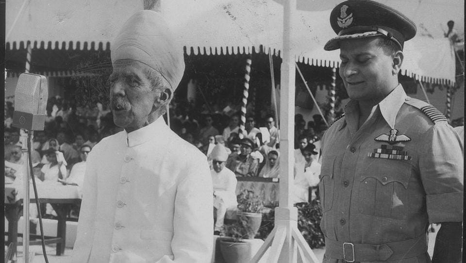 Nizam of Hyderabad speaking at the passing out parade held on Air Force academy.