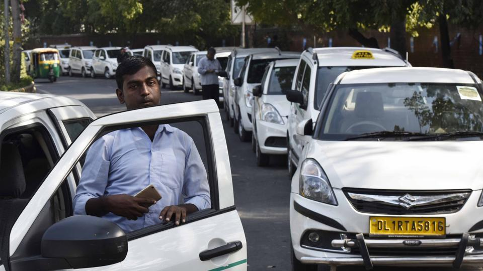 Ola and Uber drivers during a protest at Jantar Mantar,  February 14.  Both Ola and Uber have run into problems with their drivers who see themselves not as the micro-entrepreneurs the two companies claim they are, but employees.