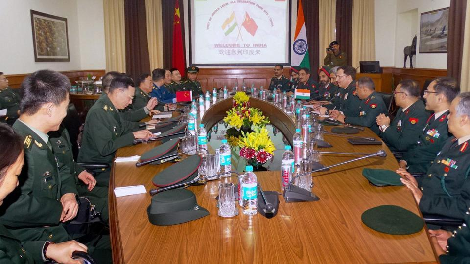 Officials of China's People's Liberation Army during their meeting with Indian Army officers in New Delhi.