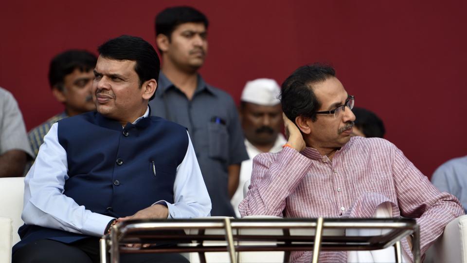 Maharashtra chief minister Devendra Fadnavis and Shiv Sena chief Uddhav Thackeray at an official function  in Mumbai.