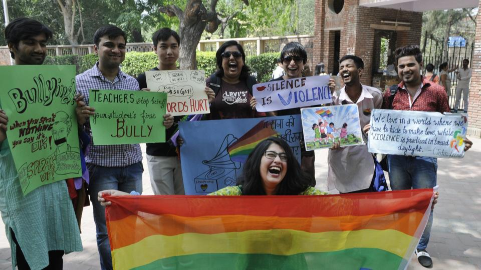 The students from Delhi University protesting against campus violence against LGBTQ  (File photo)