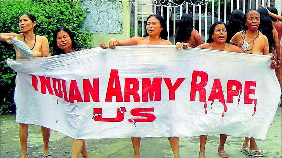 The protest by 12 elderly women in Imphal on July 15, 2004 outside the headquarters of the Assam Rifles paramilitary force. The women were protesting against the killing of Thangjam Manorama.