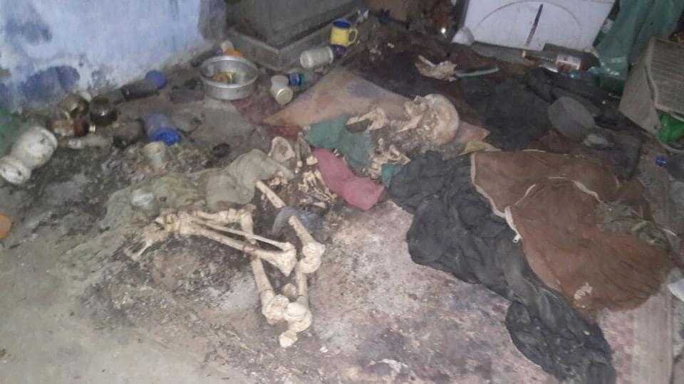 The police found the body of a woman who lived with the skeletal remains of her mother for months together in a single-room accommodation.