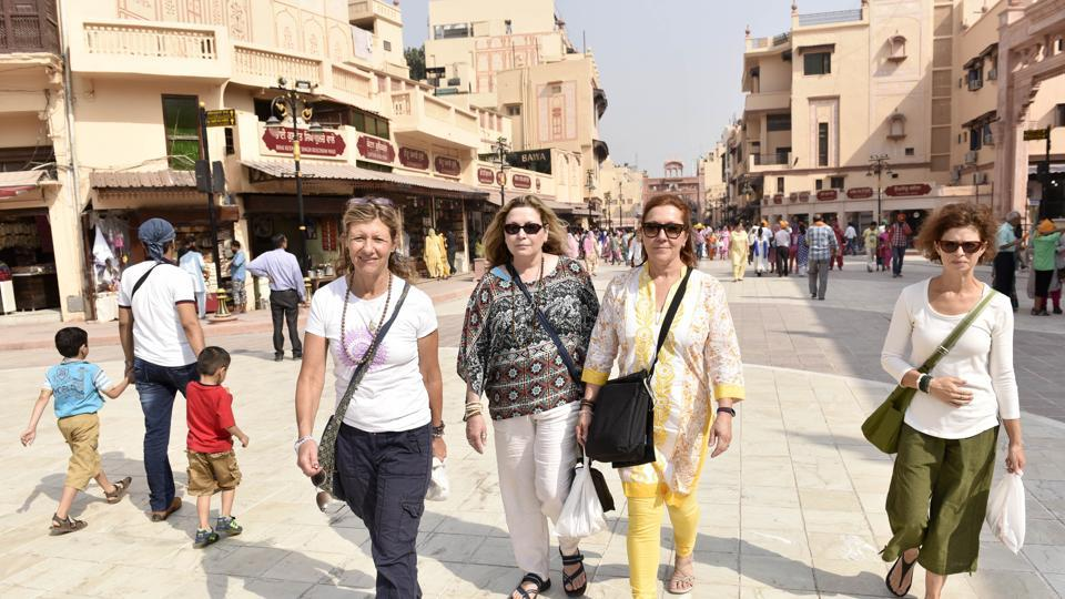 Foreign tourists at Heritage Street near Golden Temple in Amritsar.