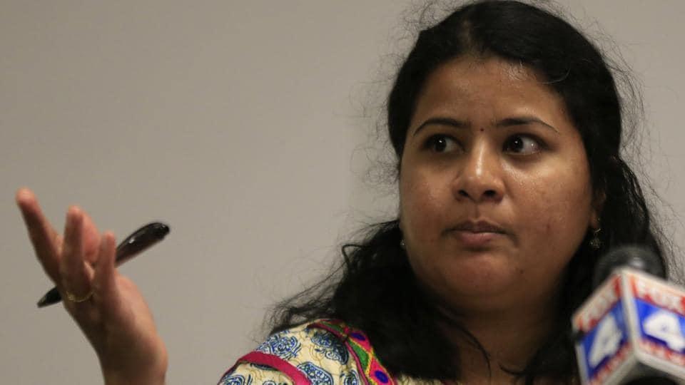Sunayana Dumala talks about her late husband, Srinivas Kuchibhotla, during a news conference at Garmin Headquarters in Olathe, Kan., Friday, Feb. 24, 2017. Kuchibhotla was killed when a 51-year-old US Navy veteran opened fire in a bar in Olathe on Feb. 23, 2017.