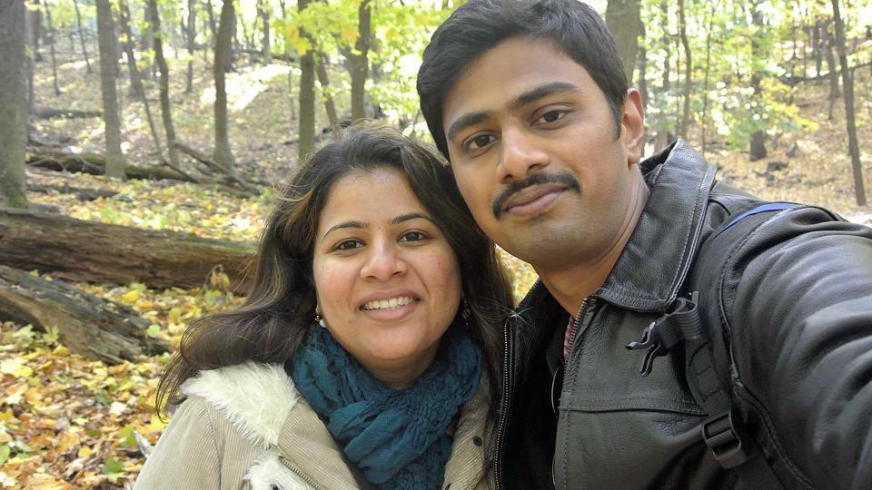 Srinivas Kuchibhotla (right) poses with his wife Sunayana Dumala in Cedar Rapids, Iowa. Kuchibhotla was shot at a bar in Olathe.