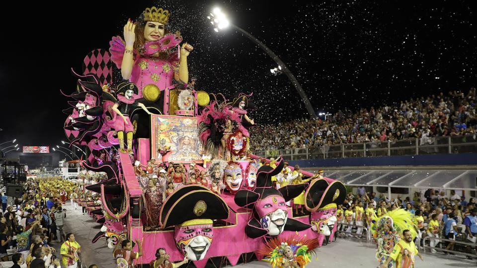 Dancers from the Tom Maior samba school perform on a float during a carnival parade in Sao Paulo, Brazil. (Andre Penner/AP)