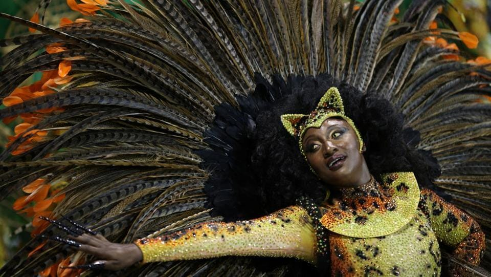 A reveller parades for the Vila Maria samba school. (Paulo Whitaker/REUTERS)