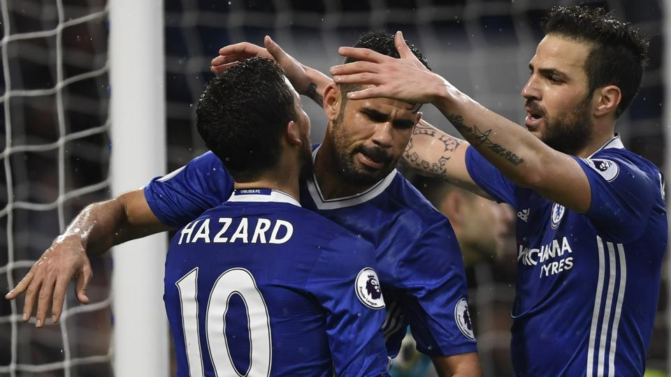 Chelsea FC's Diego Costa celebrates after scoring their third goal against Swansea in the Premier League.