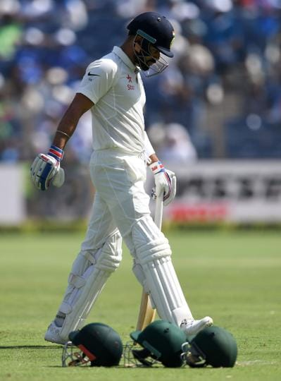 India received a major jolt as captain Virat Kohli departed for 13 and was dismissed by Steve O'Keefe. (AFP)