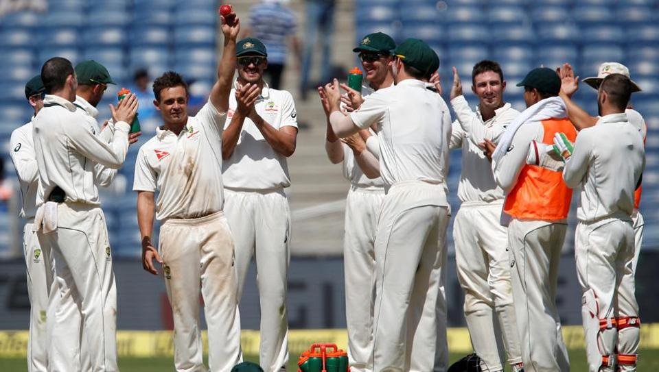 Australia's Steve O'Keefe celebrates after picking his second five wicket haul of the first Test against India in Pune.