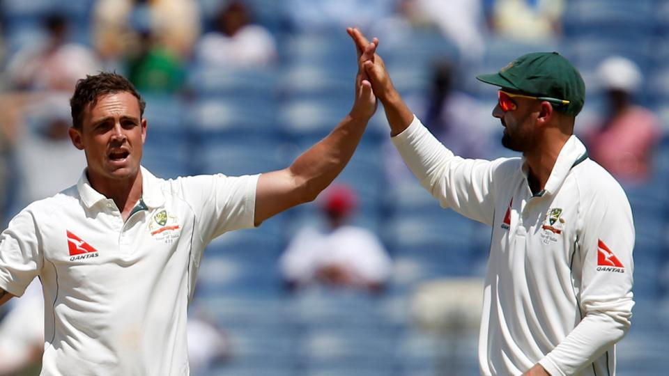 Australia cricket team spinners Steve O'Keefe (12) and Nathan Lyon (5) took 17 wickets between them as the visitors beat India cricket team by 333 runs in the first Test in Pune.