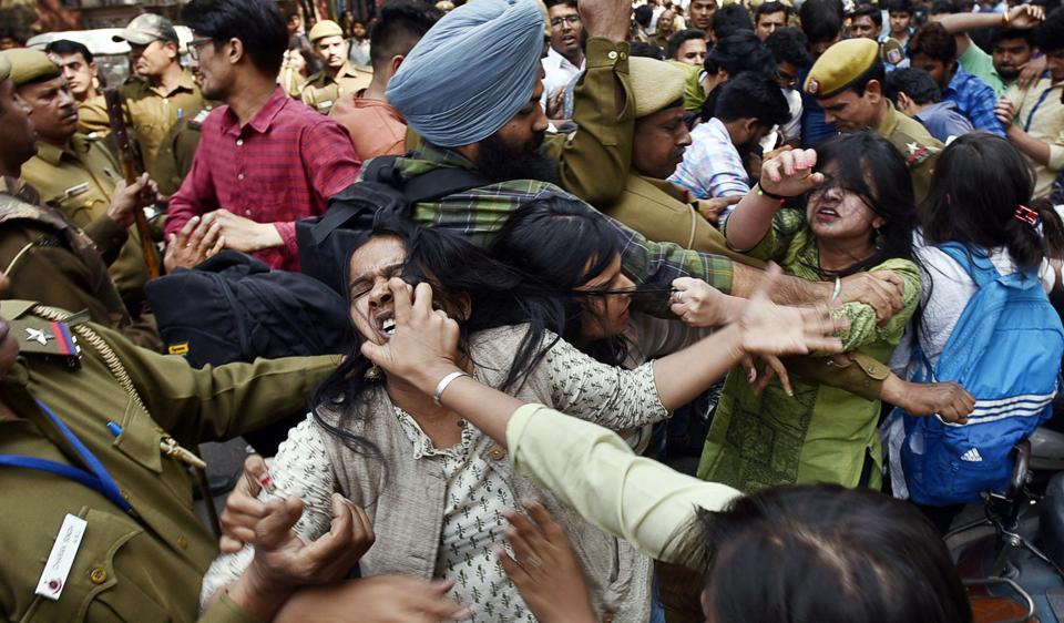 Clashes broke out between activists of ABVP, AISA and other students on Wednesday.