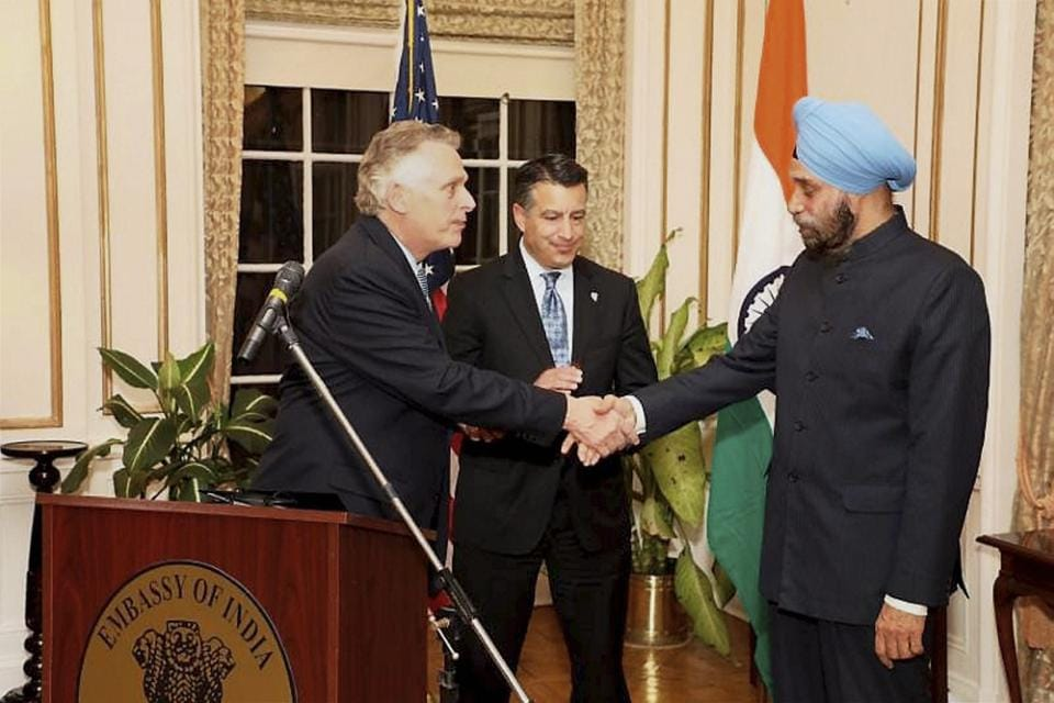Virginia governor Terry McAuliffe and Nevada governor Brian Sandoval with Indian ambassador to the US Navtej Sarna at the Indian embassy in Washington.
