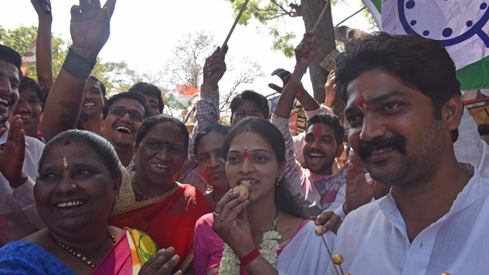 NCP supporters cheer on their candidate at Malad (West)on Thursday.