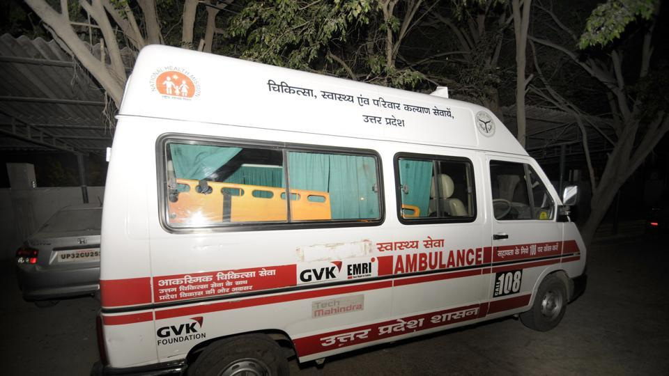 The 'Samajwadi' tag has been covered from an ambulance in Lucknow following an Election Commission order.