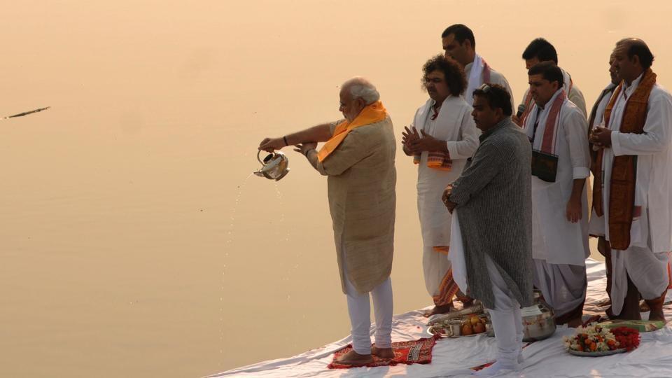 Prime Minister Narendra Modi performs Ganga aarti at the Assi ghat in Varanasi.