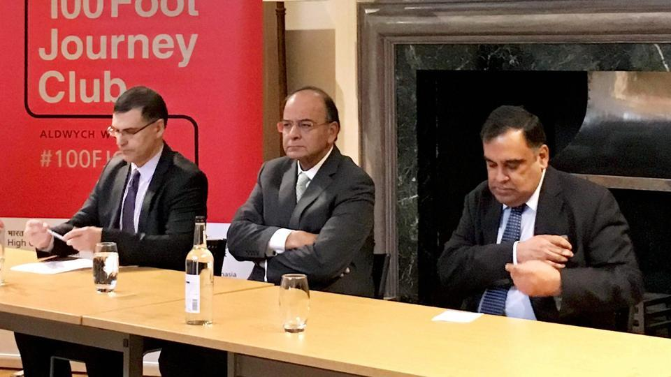 Arun Jaitley (centre) speaks at the London School of Economics on 'Transforming India', in London, Britain.
