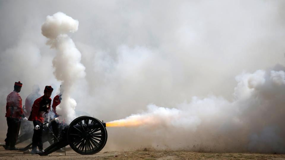 Members of Nepalese army fire a cannon during the rehearsal for the upcoming Army Day celebration at Tundhikhel in Kathmandu, Nepal. (Navesh Chitrakar/REUTERS)