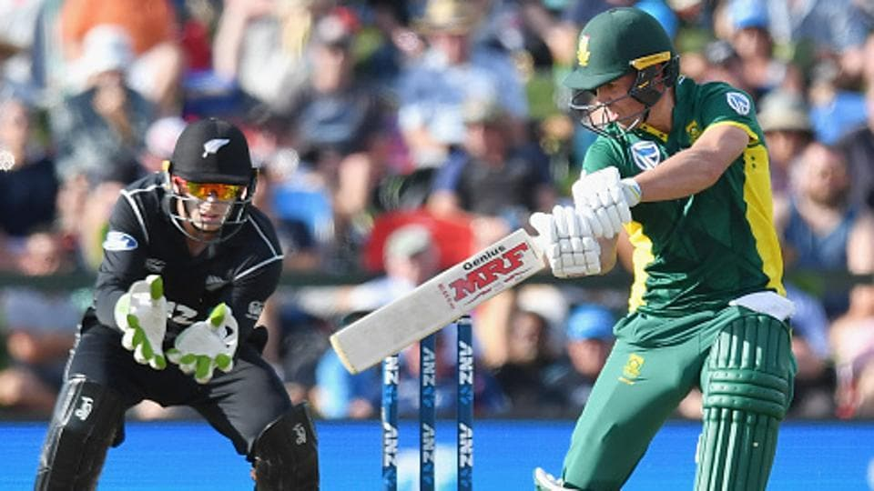 AB de Villiers in action during the ODI match between New Zealand and South Africa in Wellington.