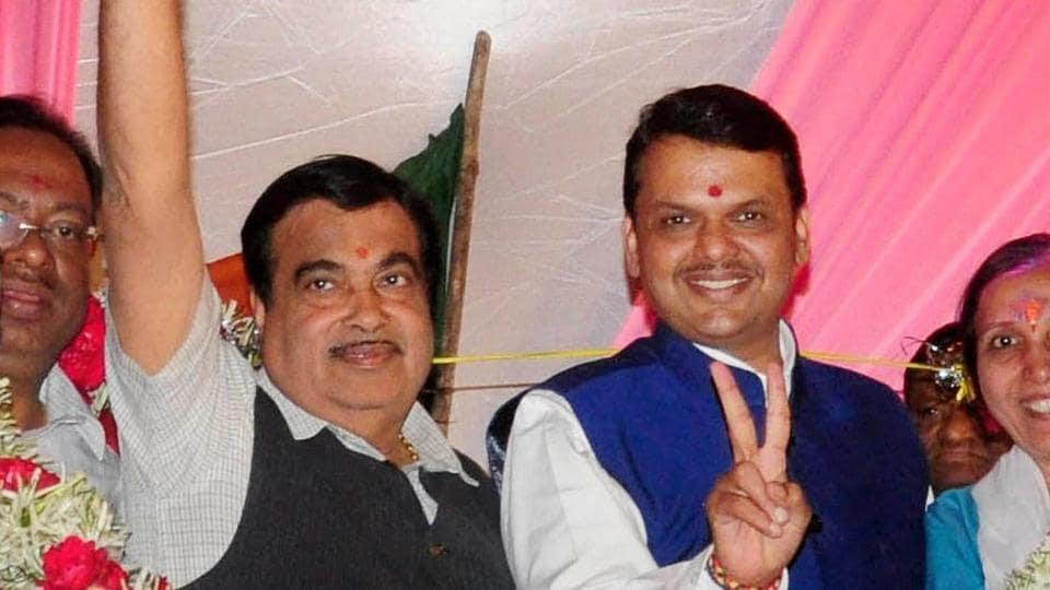 Union minister Nitin Gadkari with Maharashtra chief minister Devendra Fadnavis during celebrations after the Municipal Corporation poll results in Nagpur on Thursday night.