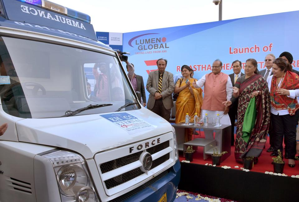 Rajasthan chief minister Vasundhara Raje launches  the  RAHAT ambulance in Jaipur on Saturday.