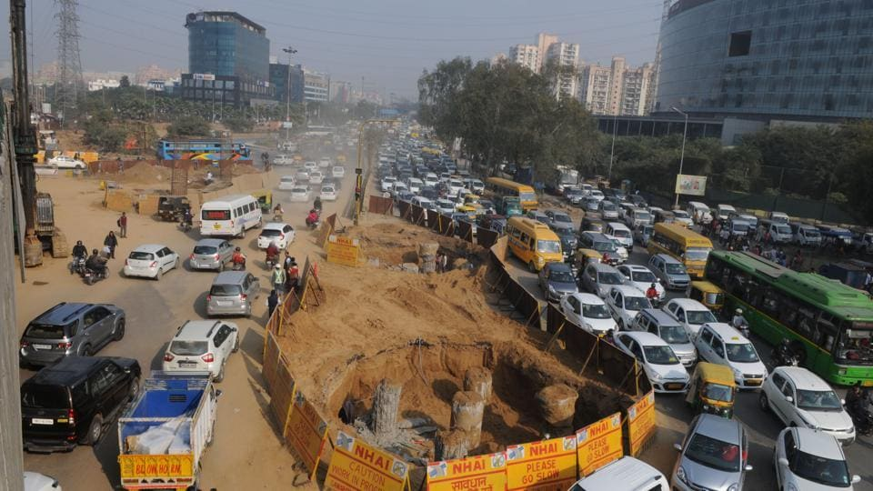 The underpass work at Iffco Chowk. Underpasses are also being built at Rajiv Chowk and Signature Tower intersection.