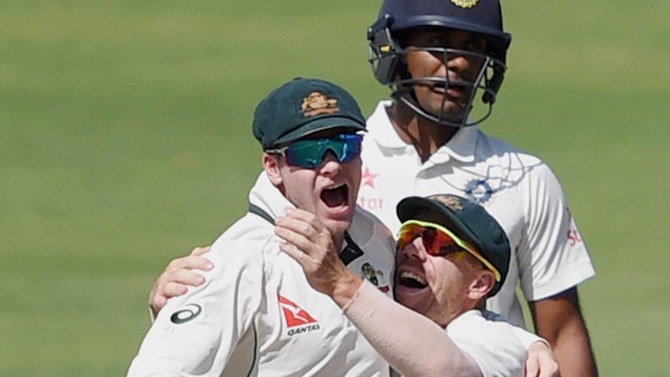 Australian cricket team captain Steve Smith celebrate their victory over India cricket team on Day 3 of the first Test in Pune on Saturday.