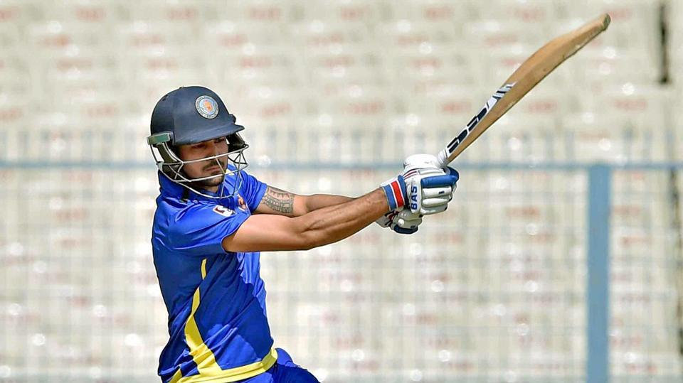 Karnataka cricket team captain Manish Pandey scored 77 runs after getting dropped on zero and 15, and shared a 116-run stand with R Samarth who made 71. For Jharkhand skipper MS Dhoni scored 43 off 50 balls.