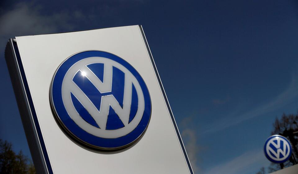 A Volkswagen logo is pictured at Volkswagen's headquarters in Wolfsburg, Germany.