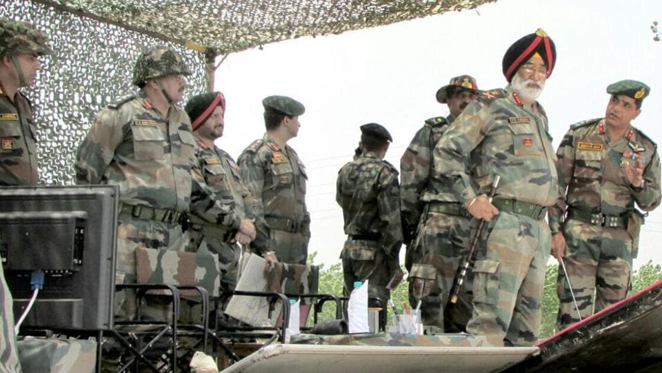 General Jagbir Singh Cheema, then commanding XI Corps pictured last summer while attending a formation level exercise in Punjab.