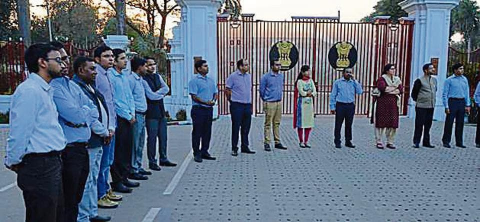 IAS officers formed a human chain outside Raj Bhawan, in Patna.