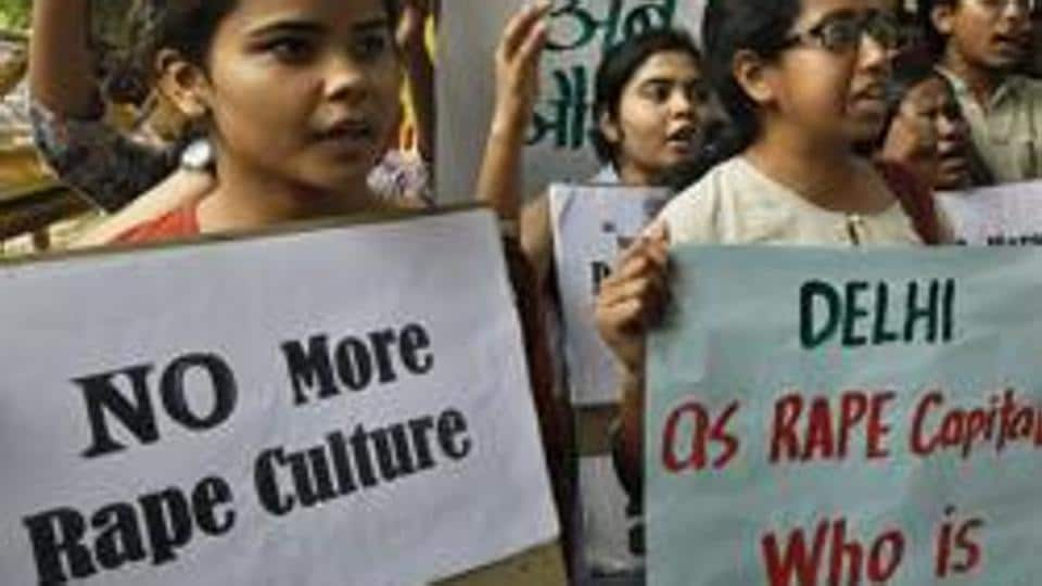 Students protest against the rape cases of minors in the national capital in New Delhi, in 2015.