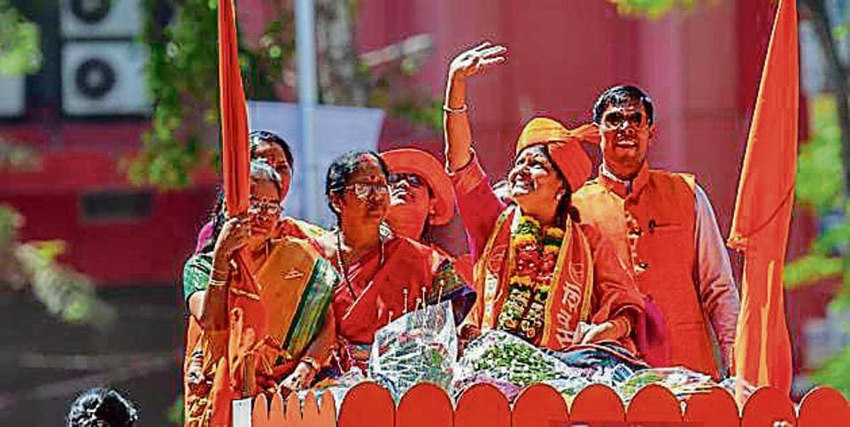 Winning Shiv Sena candidate Vishakha Raut at a procession in Dadar on Sunday.