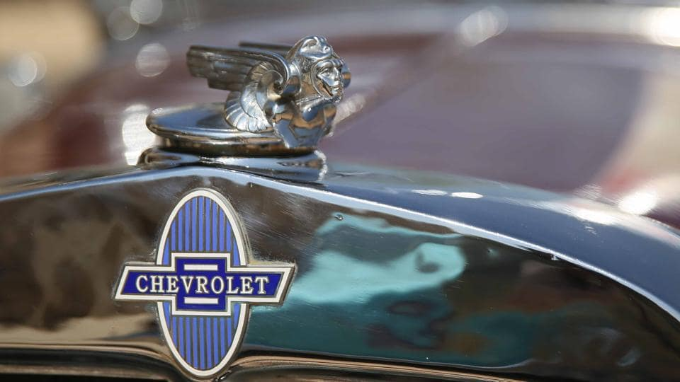 A symbol of Chevrolet vintage car displayed during  the 19th Vintage & Classic Car Rally in Jaipur.  (Himanshu Vyas\ HT Photo)