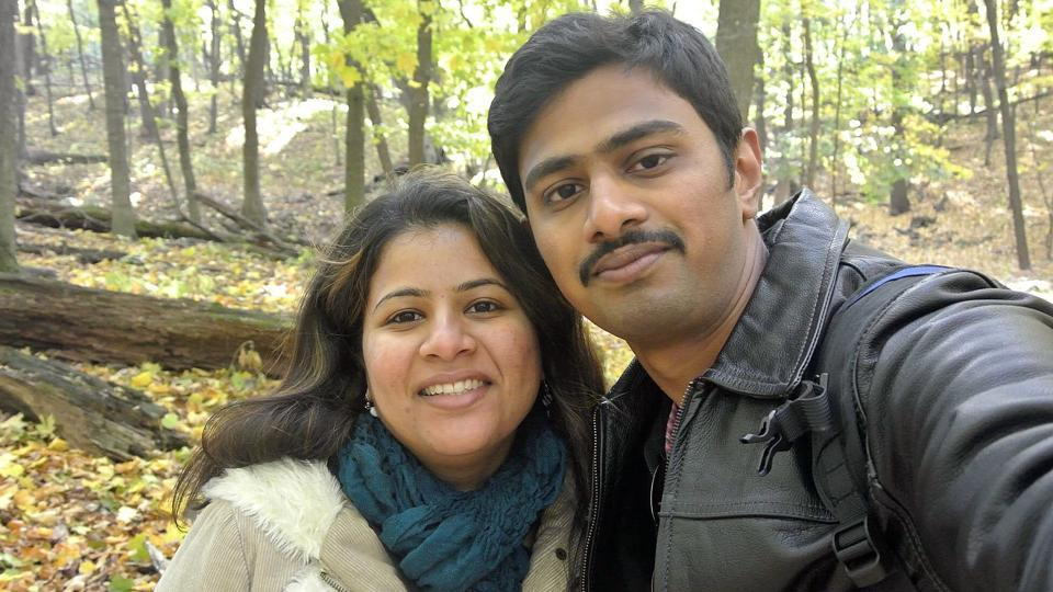Srinivas Kuchibhotla (right) with his wife Sunayana Dumala in Iowa. Kuchibhotla was shot at a bar in Olathe, Kansas.