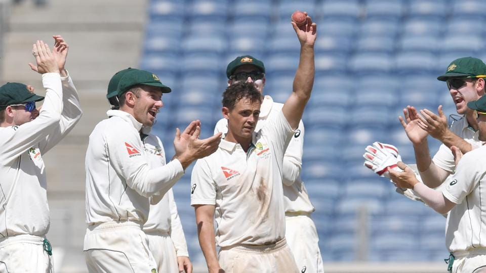 Australia cricket team players applaud Steve O'Keefe's match-winning performance in the first Test against India cricket team in Pune.