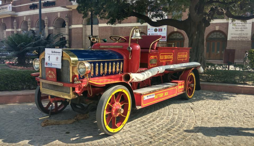 A 1914 John Morris fire engine was the oldest participant at The Statesman Vintage and Classic Car Rally on Sunday. It was one of the two earliest fire engines known to have existed in the world.