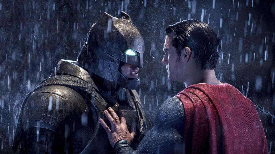 This image released by Warner Bros. Pictures shows Ben Affleck, left, and Henry Cavill in a scene from, Batman v Superman: Dawn of Justice.