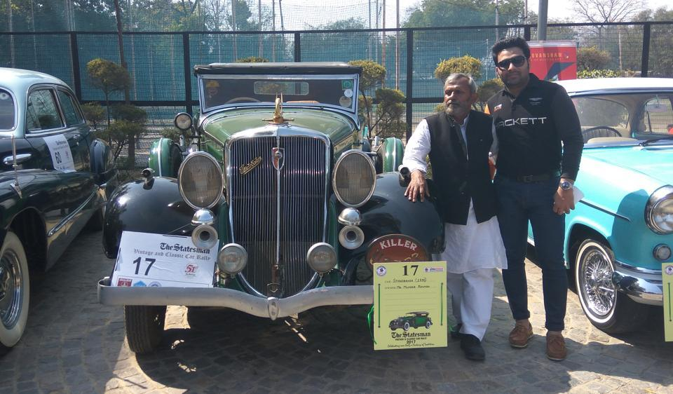 Owner Mujeeb Rehman with the 1930 Studebaker, which Nathuram Godse was using when he shot dead Mahatma Gandhi, at the 51st edition of The Statesman Vintage and Classic Cars Rally on Sunday.