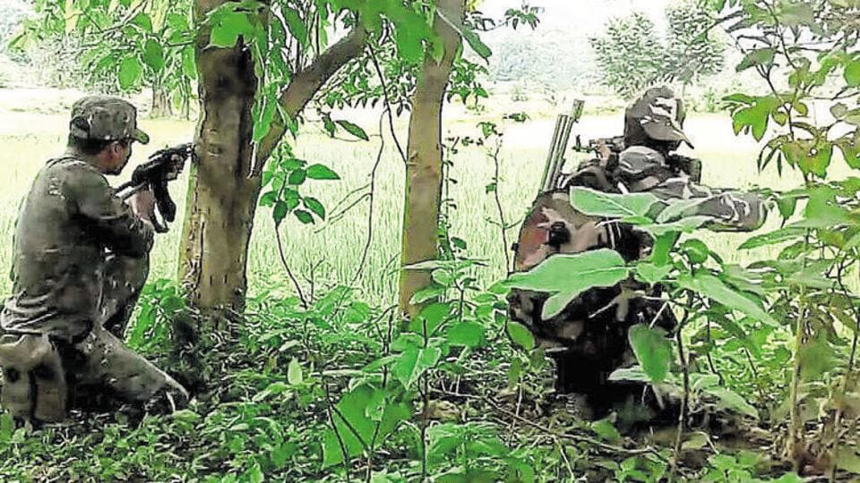 In this file photo security forces are seen carrying out ground operation against CPI  (Maoist) in the hilly areas of East Singhbhum  district  of Jharkhand.