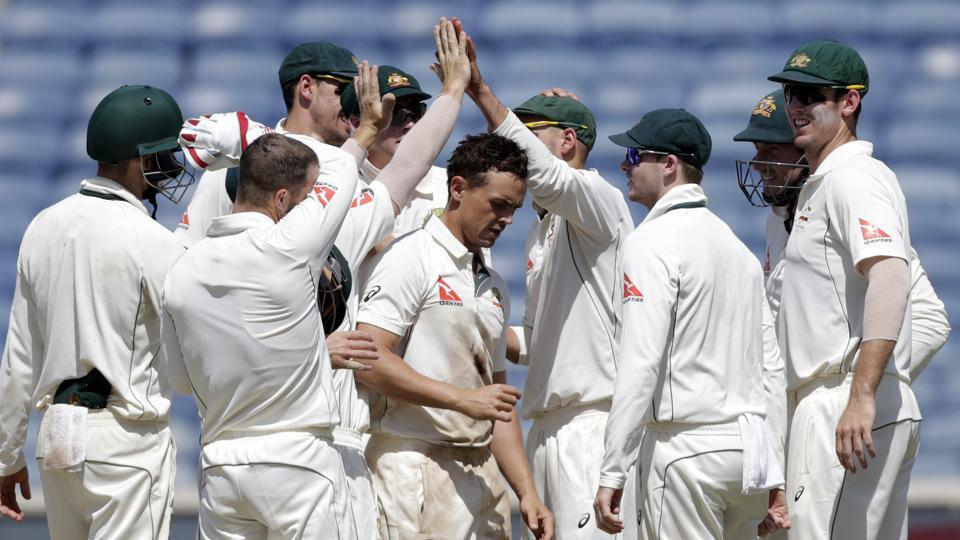 Australia spinner Steve O'Keefe's (centre) match haul of 12/70 in the first Test against India in Pune was dubbed a 'superhero performance' by the media.